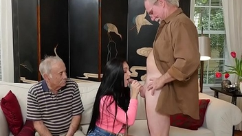Teen fucked from behind senior citizen