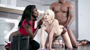 Ebony mistress Osa Lovely talked black XXX partner forth fuck Elsa Jean