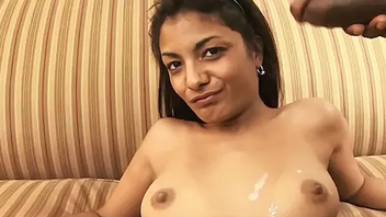 Hottie indian babe Neela Sky acquires jizz load on her face and nice titties