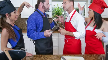 Hot dads fuck each other's sprouts during XXX cooking on be transferred to table