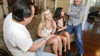 Teen daughters silver their dads for XXX foursome on the couch