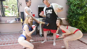 Young daughters XXX swap daddies and ride their cocks outdoors