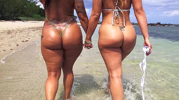 Hot Latina stepsisters with big butts come to slay rub elbows with beach for XXX fun