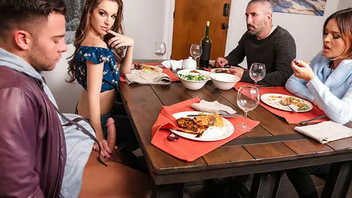 Lovely girl shares BF's Hardcore meatpole with mom during background dinner
