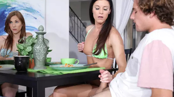 Winsome mom helps guy relax tempting descendant earn XXX threesome