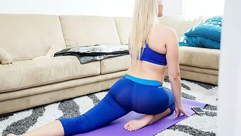 Yoga motivates smoking-hot stepmom hither give fellow free XXX blowjob