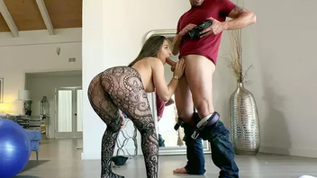 Nice girl in lace pantyhose is so emotional giving a Gonzo blowjob